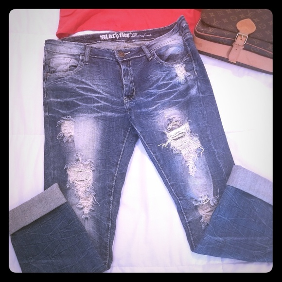 Machine Denim - Cropped distressed jeans